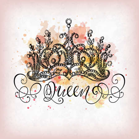 thematic: Elegant hand-drawn Queen crown with lettering. Imitation of watercolor spots and splashes. Perfect for thematic banners, announcement, web design. Illustration