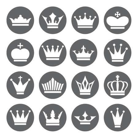 corona de princesa: Conjunto de iconos del vector de la corona en estilo plano, blanco en base gris