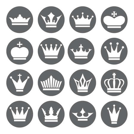 crown silhouette: Set of vector Crown Icons in flat style, white on grey basis