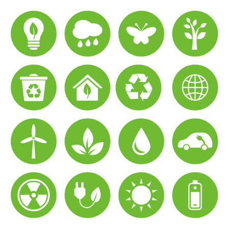 green environment: Set of vector Eco Icons in flat style, white on green basis. Ecology, Nature, Energy, Environment and Recycle Icons.