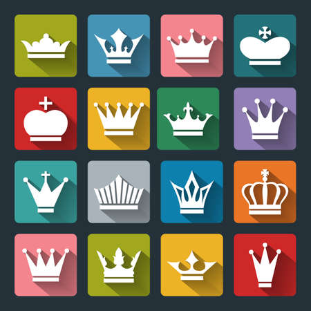 gov: Set of vector Crown Icons in flat style with long shadows. White crown icons on colored basis.