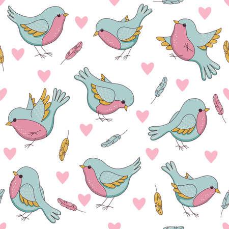 pajaro caricatura: Vector Patrón de Pascua transparente con las aves, los corazones y las plumas. ilustración infantil en el estilo de dibujos animados. Perfecto para las invitaciones, fondos de escritorio, papel de envolver fabricación, textil, diseño de páginas web.