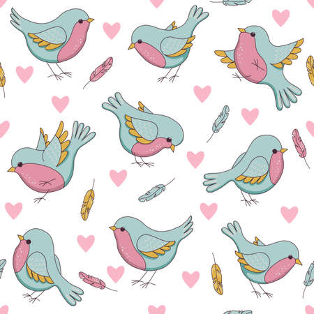 flying bird: Vector seamless easter pattern with birds, hearts and feathers. Childish illustration  in cartoon style. Perfect for invitations, wallpapers, manufacture wrapping paper, textile, web design.