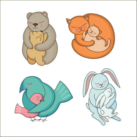 cartoon hare: Set of hand drawn Baby and Mommy Animals isolated on white. Mothers hugs. Cute bears, cats, rabbits and birds - moms and kids. Illustration