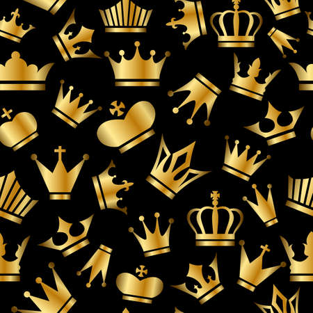 gov: Seamless pattern with Gold Crowns on black background. Perfect for greetings, invitations, manufacture wrapping paper, textile, web design.