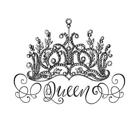 recognition: Elegant hand-drawn Queen crown with lettering. Graphic black-and-white illustration. Perfect for thematic banners, announcement, web design.