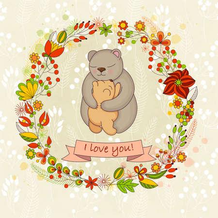 ourson: Vector carte mignonne pour Bonne fête des mères. Arrière-plan avec couronne de fleurs et les étreintes de la mère. Mignon ours - maman et ourson.