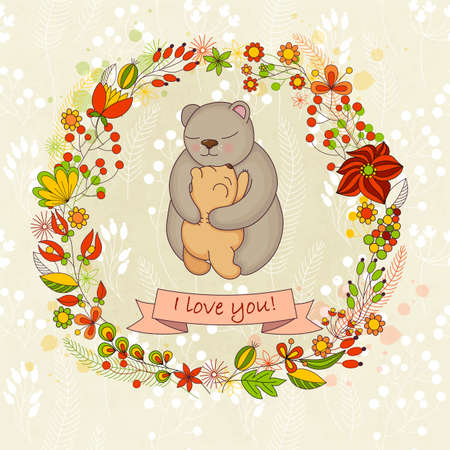 bear cub: Vector cute card  for Happy mothers day. Background with floral wreath and Mothers hugs. Cute bears - mom and bear cub. Illustration