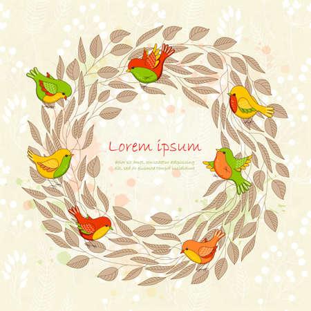 Vector primavera scheda con corona di fiori e uccelli. Romantica cornice floreale con il posto per voi il testo. Perfetto per i saluti, inviti, annunci, la progettazione di nozze.