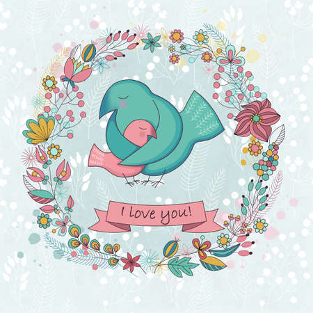 nestling birds: Vector cute card  for Happy mothers day. Background with floral wreath and Mothers hugs. Cute birds - mom and nestling.