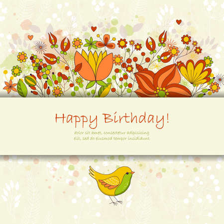Happy Birthday Greeting Card With Flowers And Bird Cute Colorful