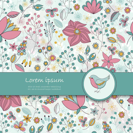 Vector card with floral pattern, ribbon and bird. Place for your text. Perfect for greetings, invitations, announcements, wedding design.