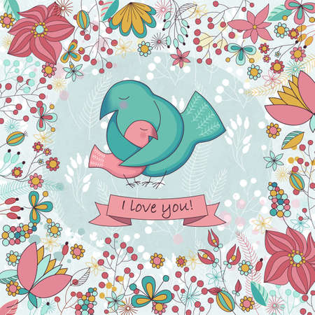 Vector cute card  for Happy mothers day. Background with floral frame and Mothers hugs. Cute birds - mom and nestling. Ilustração