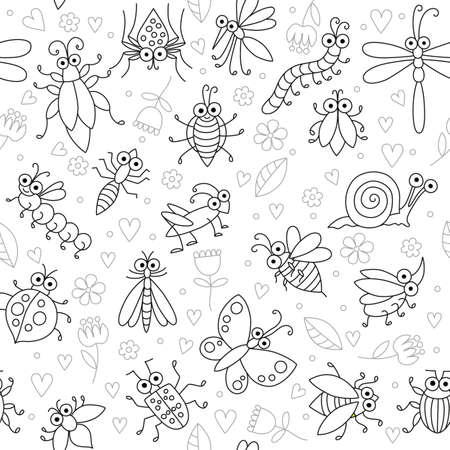 Seamless background with funny cartoon insects. Silhouettes of fly, butterfly, dragonfly, snail, beetle, caterpillar, ant, spider, ladybug, grasshopper, bee, mosquito. Childish illustration in cartoon style. Иллюстрация