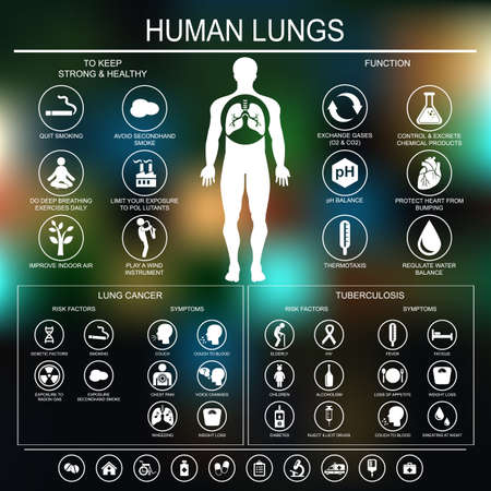 cancer symptoms: Medical infographics. Lungs function and health. Lung cancer and tuberculosis: risk factors and symptoms. Vector illustration. Illustration