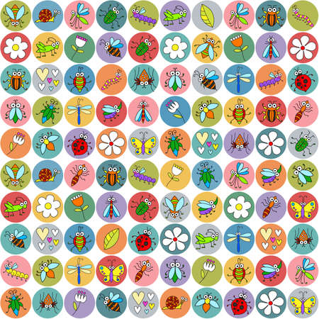Seamless background with funny cartoon insects on stickers. Cute fly, butterfly, dragonfly, snail, beetle, caterpillar, ant, spider, ladybug, grasshopper, bee, mosquito. Childish illustration  in cartoon style. Ilustração