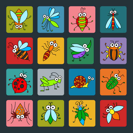 basis: Set of vector funny insects icons. Cartoon characters on colored basis for you design. Childish illustration. Illustration