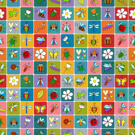 comic wasp: Seamless background with funny cartoon insects on colorful squares. Cute fly, butterfly, dragonfly, snail, beetle, caterpillar, ant, spider, ladybug, grasshopper, bee, mosquito. Childish illustration  in cartoon style.