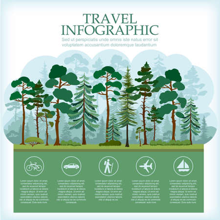 pine forest: Traveling infographic with forest landscape. Vacation and Outdoor Recreation. Coniferous pine forest. Recreation in nature. Vector illustration. Illustration