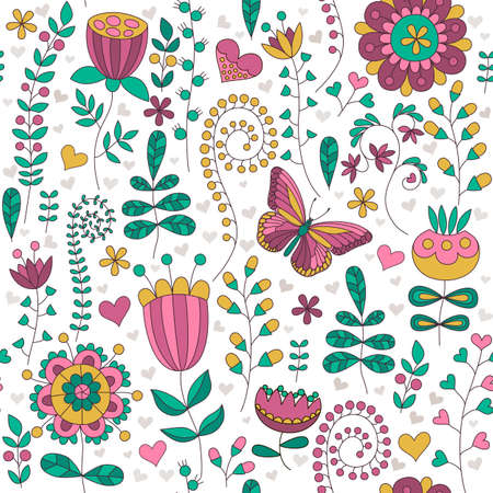 floral elements: Seamless floral colorful vector pattern. Hand drawn Different floral elements, hearts and butterfly. Perfect for greetings, invitations, manufacture wrapping paper, textile, wedding and web design.