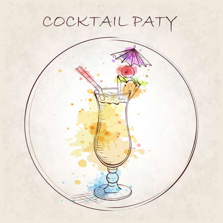 pina colada: Cocktail Party booklet. Cocktail Pina Colada with watercolor spots. A sweet tropical cocktail. A delicious and refreshing Summer drink. Hand drawn vector illustration.