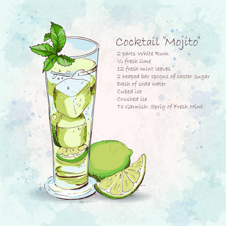 Classic Mojito cocktail. Popular alcoholic cocktail Mojito in long glass. Detailed recipe. Fresh and salty drink. Hand drawn vector illustration