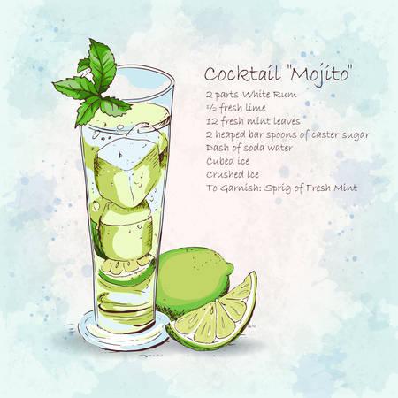 Klasyczne Mojito cocktail. Popularne alkoholowy koktajl Mojito w długiej szklance. Szczegółowy przepis. Świeże i słony napój. Ręcznie rysowane ilustracji wektorowych