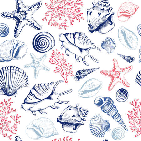 Seamless pattern with seashells, corals and starfishes. Marine background. Hand drawn vector illustration in sketch style. Perfect for greetings, invitations, manufacture wrapping paper, textile, wedding and web design.