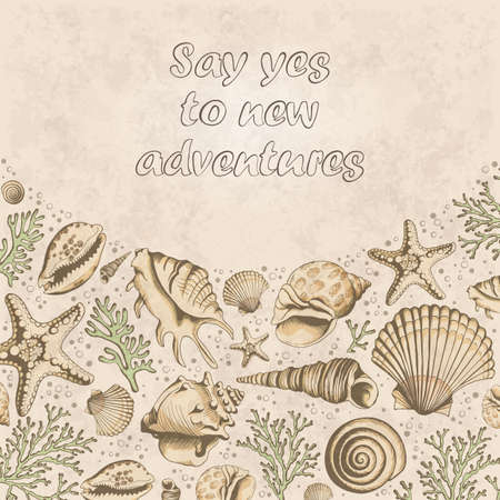 vintage poster: Vector vintage Poster with seashells, corals and starfishes. Marine background. Travel Template. Hand drawn vector illustration in sketch style.