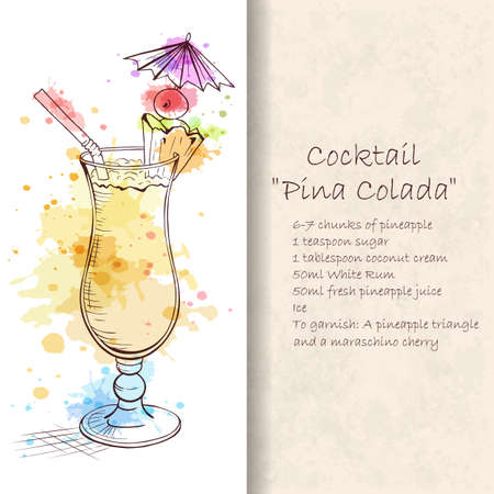 Cocktail Pina Colada. A sweet tropical cocktail. A delicious and refreshing Summer drink. Booklet with detailed recipe. Hand drawn vector illustration.