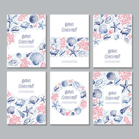 Set of six vector vertical cards with seashells, corals and starfishes. Marine background. Sketch style. Travel templates. Perfect for business, invitation, cosmetic product,  wedding and web design.  イラスト・ベクター素材