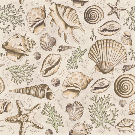 Seamless vintage pattern with seashells, corals and starfishes. Marine background. Vector illustration in sketch style. Perfect for greetings, invitations, manufacture wrapping paper, textile, wedding and web design.