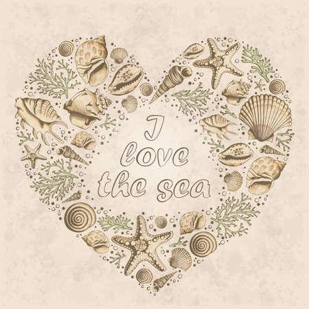 心とベクトル ビンテージ カードは貝やサンゴ、ヒトデから成っています。海が大好き。ハートの形。海洋の背景。スケッチ スタイルのイラスト。 写真素材 - 58321819