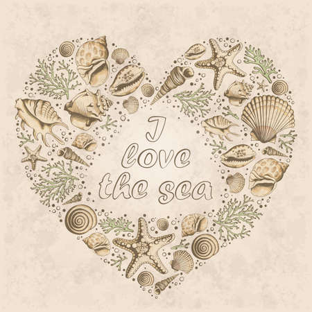 Vector vintage card with heart made of shells, corals and starfishes. I love the sea. Shape of heart. Marine background. Illustration in sketch style.