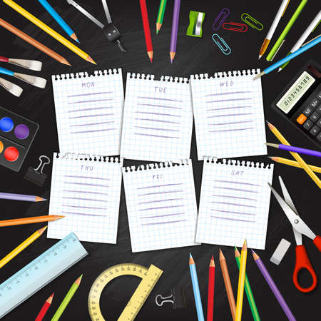 classroom supplies: School timetable on sheets of checkered paper with supplies tools on black classroom chalkboard. Hand-drawn schedule on notepad pages. Layered realistic vector illustration.