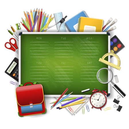 žák: Školní jízdní řád na zelené tabuli učeben s nářadím. Školní ručně kreslený plán. Vrstvené realistické vektorové ilustrace na dřevěném pozadí. Ilustrace