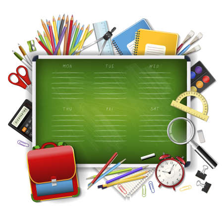 School timetable on green classroom chalkboard with supplies tools. School hand drawn schedule. Layered realistic vector illustration on wood background. Vektorové ilustrace