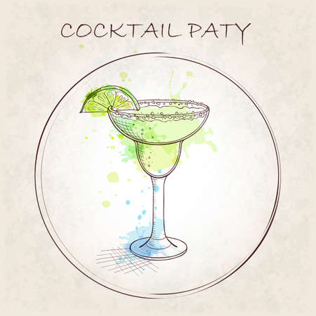satisfying: Cocktail Party booklet. Popular cocktail Margarita with watercolor spots. Classic, tart, zingy and satisfying. Hand drawn vector illustration. Illustration