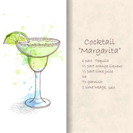 satisfying: Popular cocktail Margarita. Classic, tart, zingy and satisfying. Hand drawn vector illustration. Booklet with detailed recipe. Hand drawn vector illustration. Illustration