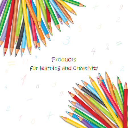 Background with colorful pencils, hand-drawn numbers and mathematical symbols. Vector illustration with a place for your text Reklamní fotografie - 60630050