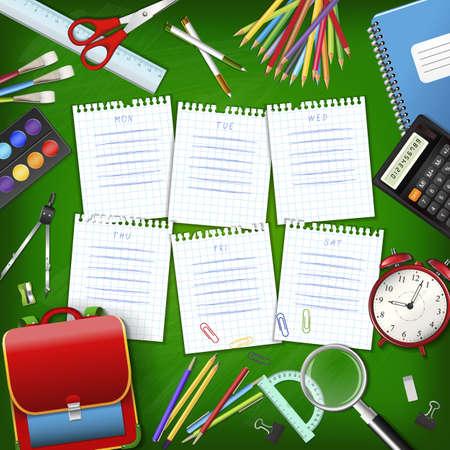 žák: Školní rozvrh hodin na listy papíru šachovnicovou se zásobami nástrojů na zelené třídě tabuli. Ručně kreslená plán na Poznámkový blok stránkách. Layered realistický vektorové ilustrace. Ilustrace