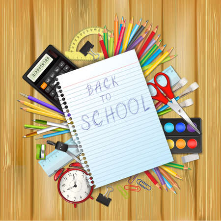 text tool: Back to school background with supplies tool, a sheet of notebook and place for text. Layered realistic vector illustration. Illustration