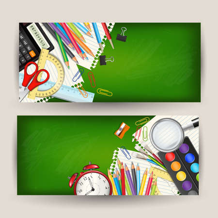 Set of two Back to school horizontal banners. Templates with supplies tools on green classroom chalkboard. Place for your text. Layered realistic illustration.