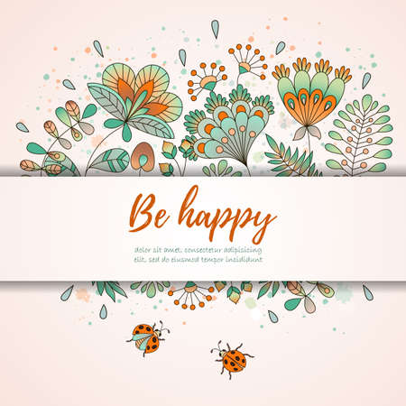Card with flowers and ladybugs cute colorful floral backgroundhave invitation card with ladybugs and flowers place for you text romantic card perfect stopboris Images