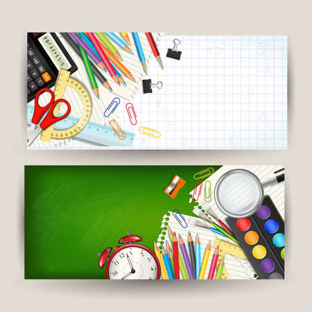 Set of two Back to school horizontal banners. Templates with supplies tools. Place for your text. Layered realistic illustration.