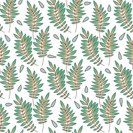 Seamless floral pattern. Hand drawn with leaves and drops. Perfect for greetings, invitations, manufacture wrapping paper, textile, wedding and web design.