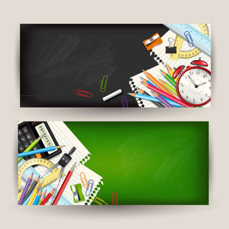 Set of two Back to school horizontal banners. Templates with supplies tools on classroom chalkboard. Place for your text. Layered realistic illustration.