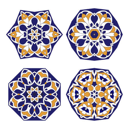 set of four circular design elements isolated on white background for your design. Oriental pattern. Mandala.