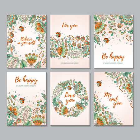 Set of six vector vertical cards with flowers and ladybugs. Sketch style. Card templates. Perfect for invitation, mothers day, valentines day, birthday cards, baby shower, wedding and web design.