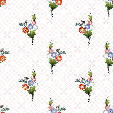 Seamless vector floral pattern. Style of Petrykivka - traditional Ukrainian decorative painting. Perfect for greetings, invitations, manufacture wrapping paper, textile, wedding and web design.